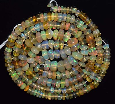 "33.15 Cts 16"" Natural Ethiopian Welo Fire Opal Smooth Rondelle Beads EB294U"