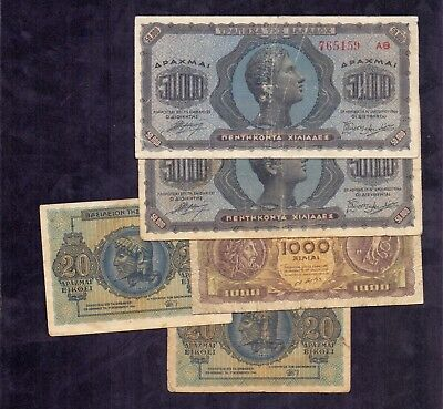 5 Pcs Of Banknotes From Greece