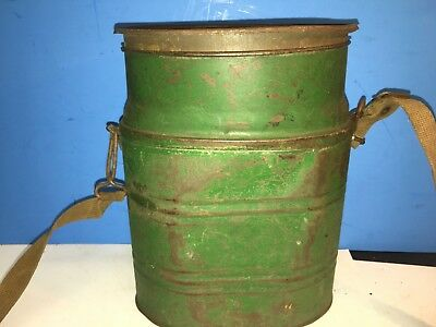 Vintage Fish  Minnow Bucket Antique Minnow Pail  Carry Strap With Lid