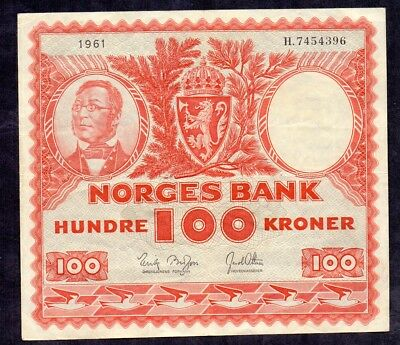 100 Kroner From Norway 1961 H