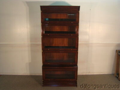 58876:Solid Mahogany 5-Section Barrister Step-Out Bookcase