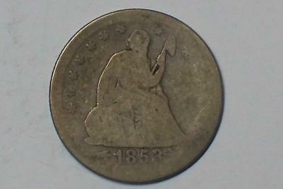 1853 O SEATED LIBERTY QUARTER W/ ARROWS @ DATE RAYS ON REV.90% SILVER #3334 glcm