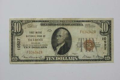 $10 NATIONAL CURRENCY SERIES 1929 DETROIT SERIAL #F034342A #3839 glcm