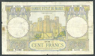 "Morocco 1938 One Hundred Francs Banknote ""ww Ii"" #3889 Low Price, $1.00 Usa Ship"