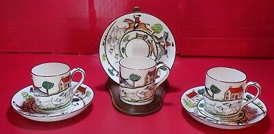 3 Crown Staffordshire Hunting Scene Demitasse Cups and Saucers