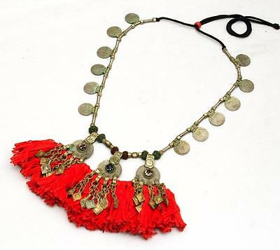 Rare Banjara Vintage Tribal Gypsy Kuchi Belly Dance Tassel Boho Ethnic Necklace