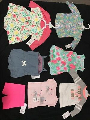 Carters Lot Of 8 Brand New Items Boho Rompers Dress 3 Months Retail Value $120