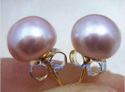 Charming AAA+ 9-10mm real natural south sea purple pearl earring 14k Yellow Gold
