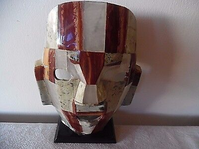 Unusual Aztec Mayan Mosaic Tile Mask On Stand