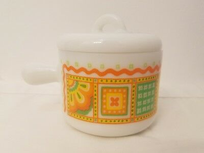 Small Avon Vintage Orange Green Flower  Jar With Lid And Small Handle #16