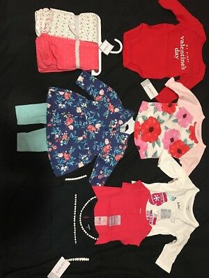 Carters Baby Girl Lot Of 9 Items 3 Months Swaddle Blanket Etc NWT value $120