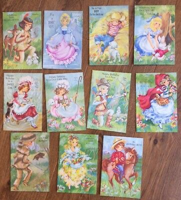Lot Of 11 Vintage Birthday Cards By Rust Craft-Goldilocks, Cinderella, And More