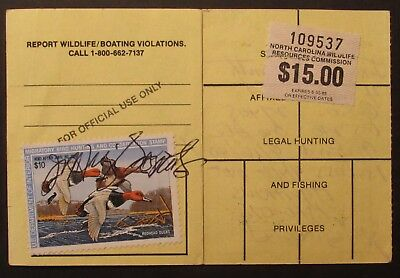 RW54 - 1987 Federal Duck Stamp on North Carolina Hunting License
