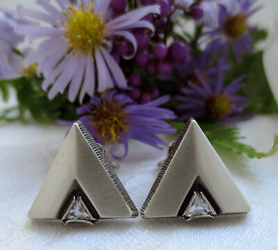 STEN & LAINE (?) Vintage 1980's Sterling Silver & Crystal TRIANGLE Earrings, 8 g