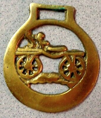 CAR WAGON Brass Horse Harness Bridle Medallion Tack Ornament vintage antique