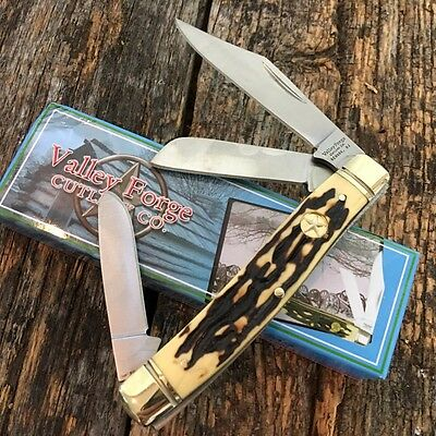 """Vintage Re-Issue VALLEY FORGE 3 7/8"""" STOCKMAN Pocket Knife New VF-504IS"""