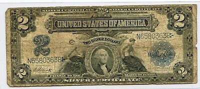"""1899 """"baby Porthole"""" 2$ Large Size Silver Certificate Note......starts @ 2.99"""