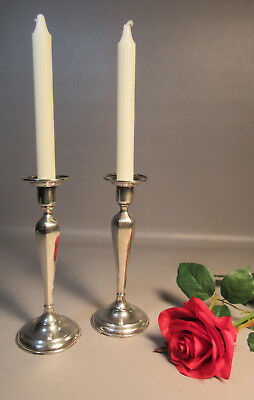 """Pair Matthews 1915 Sterling Silver Fluted Candle Sticks Holders 8"""" Tall 362grams"""
