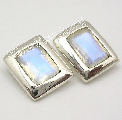 925 Silver RAINBOW MOONSTONE LOVELY Studs Earrings 0.4""