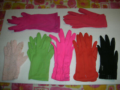 Vtg Ladies Gloves Size 6 Lot Of 7 Pairs ~ Polyester ~ Lace ~ Vintage
