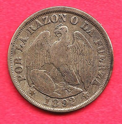 1892 Chile 20 Centavos Silver Coin ~ Good Condition!