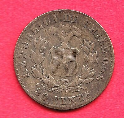1891 Chile 20 Centavos Silver Coin ~ Good Condition!