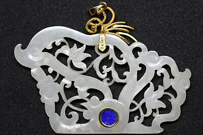 Stunning Chinese 14K Solid Gold, Untreated White Jade and Lapis Lazuli Pendant