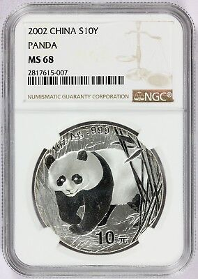 2002 China 10 Yuan 1 oz Silver Panda Coin - NGC MS 68 - KM# 1365