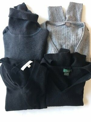 4 Sweater Juniors Size Large Cashmere gray black KENAR J. CREW SHEPHE LARK & RO