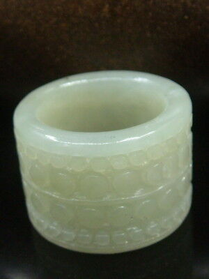 """Antique Chinese Celadon Nephrite white-JADE-Archer's Hollowe Thumb Rings """"Seas """""""