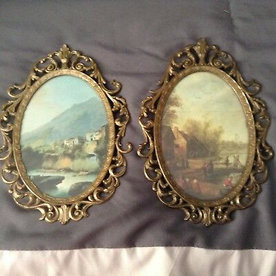 2 Ornate Metal Brass Italian Oval Picture Frames Made in Italy