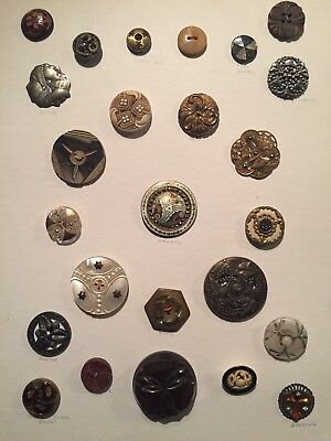 Lot 25 Asst Collectible VTG Sewing Buttons Bakelite/Silver 3 Faced Indian/Glass