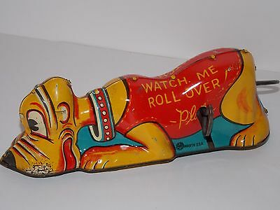 Vintage Antique 1939 Disney Roll Over Pluto Dog Marx Tin Litho Toy - Works