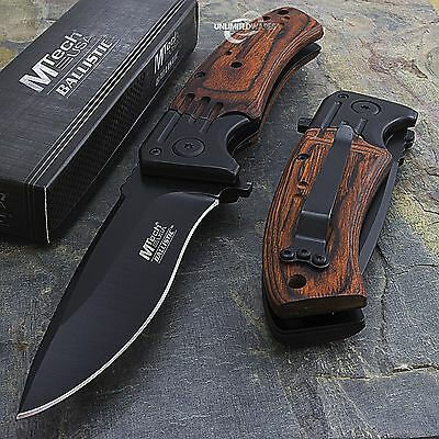 "MTECH USA 8"" WOOD SPRING ASSISTED FOLDING POCKET KNIFE Blade Open Assist EDC"