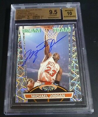 1992 Stadium Club Beam Team Michael Jordan Bgs 9.5 Signed Upper Deck Uda Auto 10
