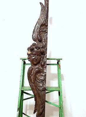 GIANT ANTIQUE FRENCH ANGEL SCULPTURE CARVING HAND CARVED WOOD PEDIMENT TRIM 18th