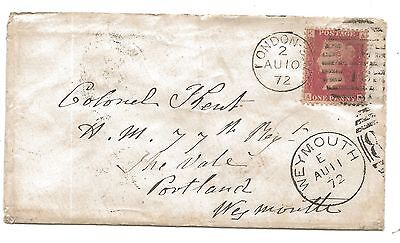 1872 Duplex Cover to WEYMOUTH 77th Regiment British Army at Portland