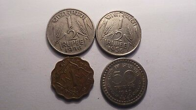 India, 4 old Coins. Various, random, years, denominations & shapes.