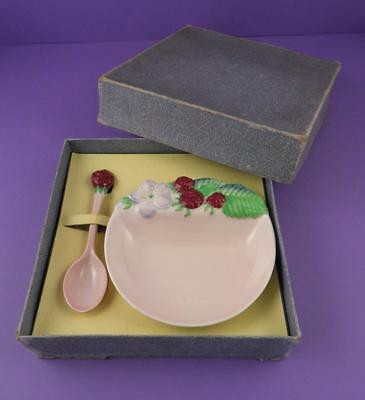 Carlton Ware 'Raspberry' Preserve / Jam Dish and Spoon Original Boxed Gift Set