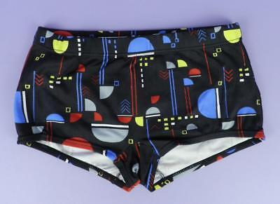 Original Unused Stock, c1970s Puma Hipster Style Patterned Trunks - Black, ms 3