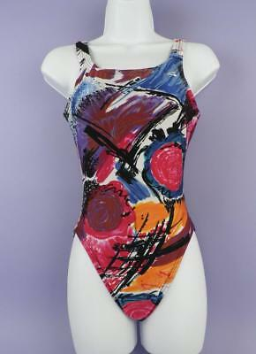 Original Vintage Unused, The Finals Abstract Print Swimsuit Size 12  - LS 2