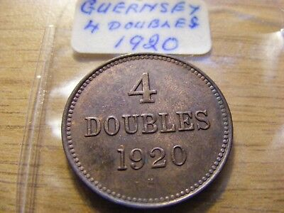 1920 Guernsey 4 Doubles Coin  - nice Condition - Some Lustre