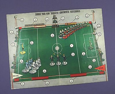 Subbuteo Continental Accessories - Vintage Leaflet Sheet in Very Good Condition