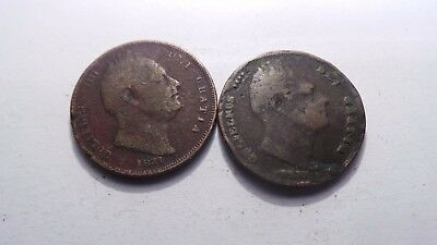 Great Britain, 2 x William IV, Farthing Coins, 1831 & 1836.