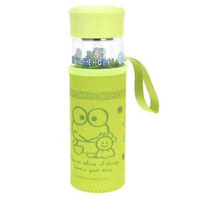 Sanrio Kero Kero Keroppi  Glass Water Bottle With Tea Filter & Pouch 400ML