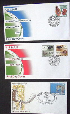 Papua New Guinea - 1990 91 Stamp Exhibition New Zealand ,games  - Covers