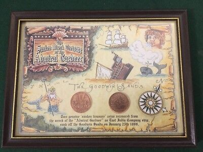 Genuine Sunken Treasure From The Admiral Gardner 1809 - 2 x Framed Coins