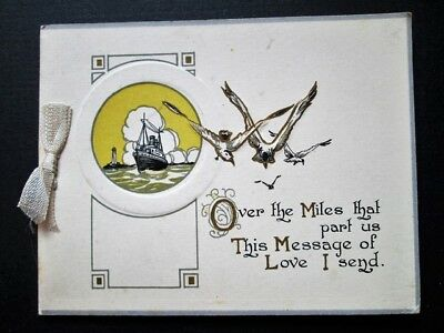 CHRISTMAS GREETINGS OVER THE MILES - GILT & EMBOSSED ART DECO CARD (1920s)