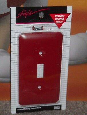 Red Steel Single Light Switch Cover New