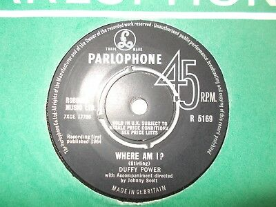 "M-  Uk  Parlophone 45 - Duffy Power - ""where Am I?"" / ""i Don't Care"""